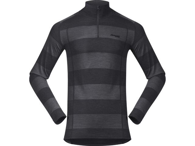 Bergans Fjellrapp Sweat avec demi-zip Homme, solid charcoal/black striped